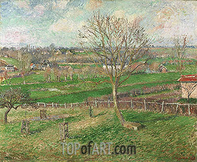 The Field and the Great Walnut Tree in Winter, Eragny, 1885 | Pissarro | Gemälde Reproduktion