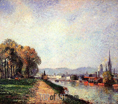 View of Rouen (Cours-la-Reine), 1883 | Pissarro | Gemälde Reproduktion