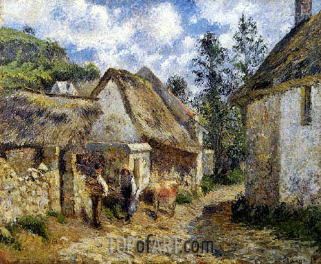 A Street in Auvers (Thatched Cottages and a Cow), 1880 | Pissarro | Painting Reproduction