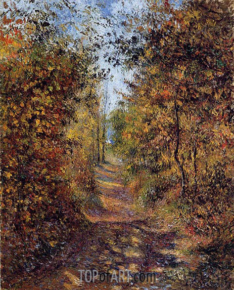 A Path in the Woods, Pontoise, 1879 | Pissarro | Painting Reproduction