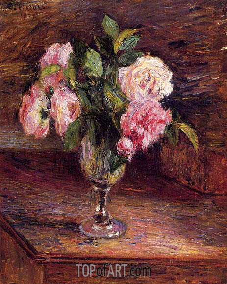 Roses in a Glass, 1877 | Pissarro | Gemälde Reproduktion