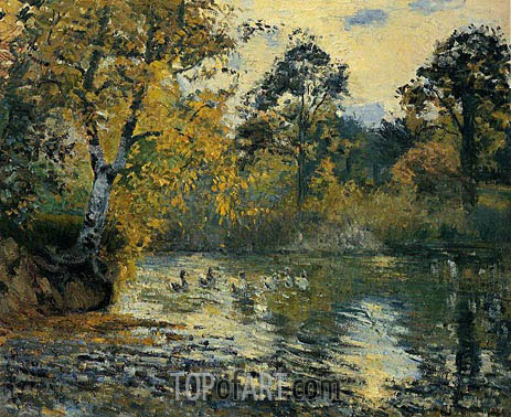 The Pond at Montfoucault, 1874 | Pissarro | Gemälde Reproduktion