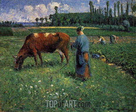 Girl Tending a Cow in a Pasture, 1874 | Pissarro | Painting Reproduction