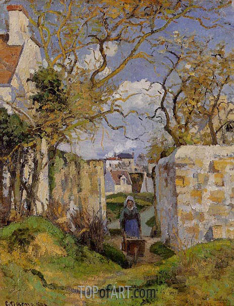 Peasant Pushing a Wheelbarrow, Maison Rondest, 1874 | Pissarro | Painting Reproduction