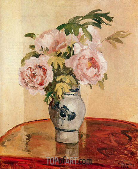 Bouquet of Pink Peonies, 1873 | Pissarro | Painting Reproduction