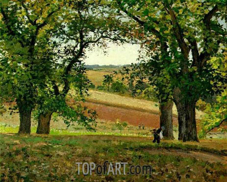 Chestnut Trees at Osny, 1873 | Pissarro | Painting Reproduction