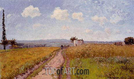 June Morning, View over the Hills of Pontoise, 1873 | Pissarro | Painting Reproduction