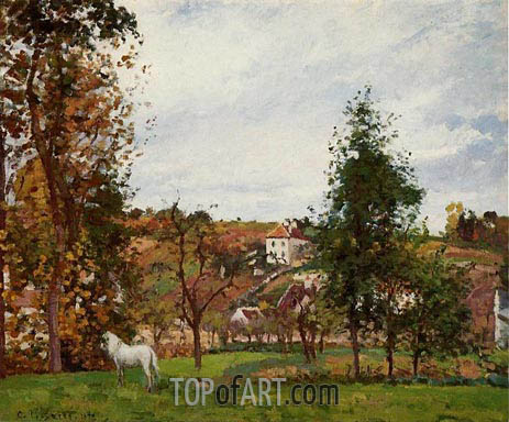 Landscape with a White Horse in a Meadow, 1872 | Pissarro | Painting Reproduction