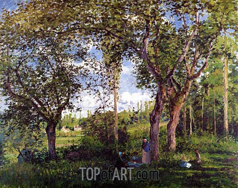 Landscape with Stollers Relaxing under the Trees, 1872 | Pissarro | Gemälde Reproduktion