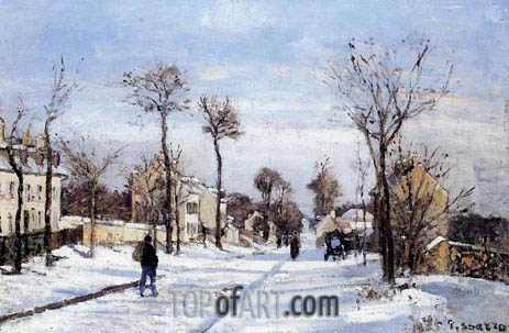 Street in the Snow, Louveciennes, c.1872 | Pissarro | Gemälde Reproduktion