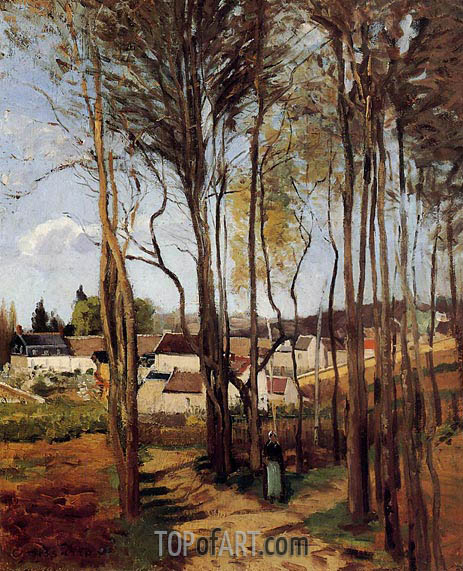 A Village Through the Trees, c.1868 | Pissarro | Gemälde Reproduktion