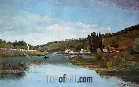 The Banks of the Marne at Chennevieres, 1864 | Pissarro | Gemälde Reproduktion