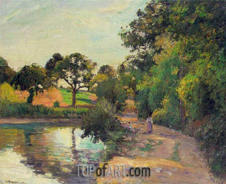 Pond at Montfoucault (Mayenne), 1874 | Pissarro | Painting Reproduction