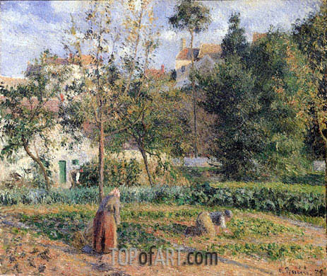 Vegetable Garden at the Hermitage near Pontoise, 1879 | Pissarro | Painting Reproduction