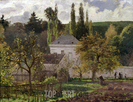 House in the Hermitage, Pontoise, 1873 | Pissarro | Painting Reproduction