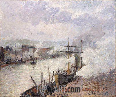 Steamboats in the Port of Rouen, 1896 | Pissarro | Gemälde Reproduktion