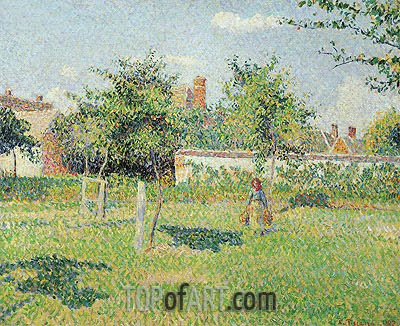 Woman in the Meadow at Eragny, Spring, 1887 | Pissarro | Painting Reproduction