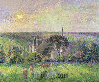 The Church and Farm of Eragny, 1895 | Pissarro | Painting Reproduction