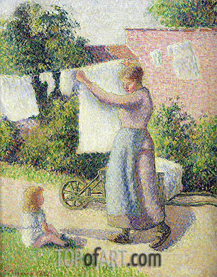 Woman Hanging up the Washing, 1887 | Pissarro | Painting Reproduction