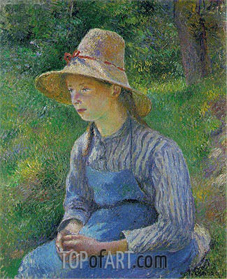 Peasant Girl with a Straw Hat, 1881 | Pissarro | Gemälde Reproduktion