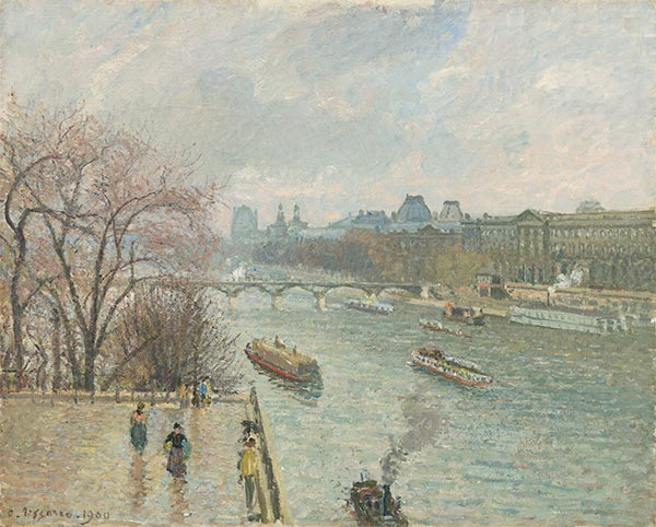 The Louvre, Afternoon, Rainy Weather, 1900 | Pissarro | Painting Reproduction