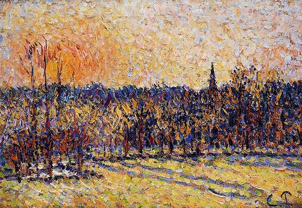 Sunset, Bazincourt Steeple, c.1890 | Pissarro | Painting Reproduction