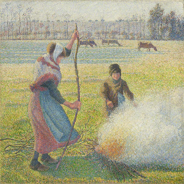 Hoar-Frost, Peasant Girl Making a Fire, 1888 | Pissarro | Painting Reproduction