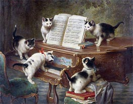 The Kittens' Recital, 1908 by Carl Reichert | Painting Reproduction