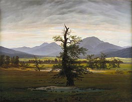 Village Landscape in Morning Light (The Lone Tree), 1822 von Caspar David Friedrich | Gemälde-Reproduktion