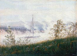 Boat on the River Elbe in the Early Morning Mist | Caspar David Friedrich | Painting Reproduction
