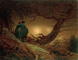Two Men Contemplating the Moon, c.1819/20 von Caspar David Friedrich | Gemälde-Reproduktion