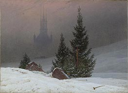 Winter Landscape with Church | Caspar David Friedrich | Painting Reproduction