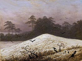 Snow Covered Hill with Ravens, undated by Caspar David Friedrich | Painting Reproduction