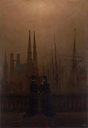Night in a Harbour, c.1818/20 by Caspar David Friedrich | Painting Reproduction