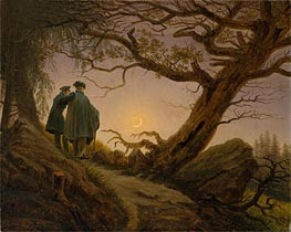 Two Men Contemplating the Moon, c.1825/30 by Caspar David Friedrich | Painting Reproduction