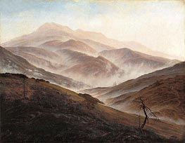 Riesengebirge Landscape with Rising Fog, c.1819/20 by Caspar David Friedrich | Painting Reproduction