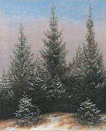 Fir Trees in the Snow, c.1828 by Caspar David Friedrich | Painting Reproduction