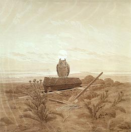 Landscape with Grave, Coffin and Owl, undated by Caspar David Friedrich | Painting Reproduction