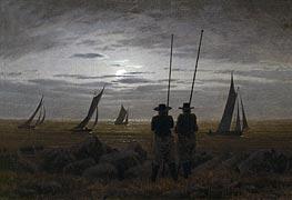Moonlit Night on the Beach with Fishermen | Caspar David Friedrich | Painting Reproduction