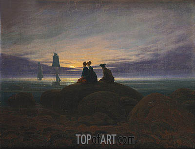 The Moon Rising over the Sea, c.1822 | Caspar David Friedrich | Painting Reproduction