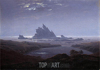 Rocky Reef on the Sea Shore, c.1824 | Caspar David Friedrich | Painting Reproduction