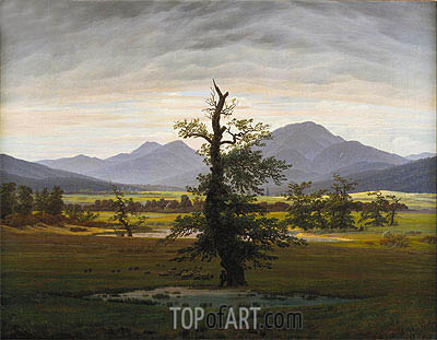 Village Landscape in Morning Light (The Lone Tree), 1822 | Caspar David Friedrich | Painting Reproduction
