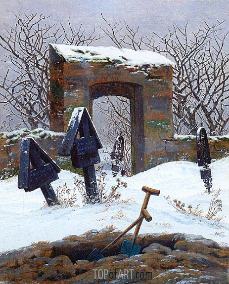Graveyard under Snow, c.1826/27 | Caspar David Friedrich | Painting Reproduction
