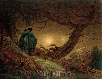 Two Men Contemplating the Moon, c.1819/20 | Caspar David Friedrich | Painting Reproduction