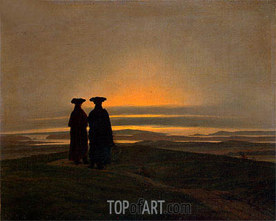 Sunset, Brothers (Evening Landscape with Two Men), c.1830/35 | Caspar David Friedrich | Painting Reproduction