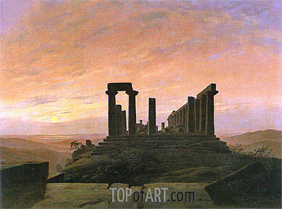 The Temple of Juno in Agrigento, c.1830 | Caspar David Friedrich | Painting Reproduction