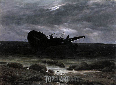 Wreck in the Moonlight, c.1835 | Caspar David Friedrich | Painting Reproduction
