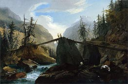 Wooden Bridge over the Lutschine near Gsteig, c.1774/77  by Caspar Wolf | Painting Reproduction