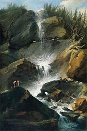 The Upper Staubbachfall in the Lauterbrunnen Valley, c.1774/77  by Caspar Wolf | Painting Reproduction