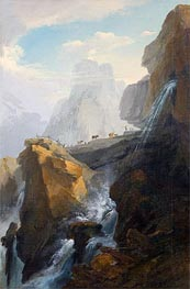 Landscape with Waterfall, Undated by Caspar Wolf | Painting Reproduction
